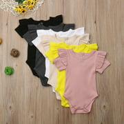 Baby Girl Romper Knitted Ruffle Snaps Solid Color Bodysuit Jumpsuit Baby Kids Girl Casual Clothings