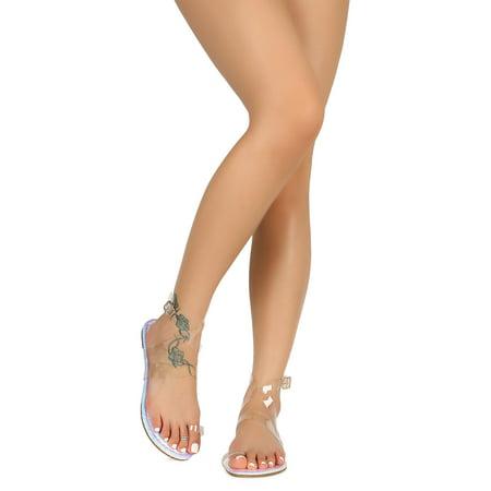 959539d4b1 Liliana - Women Transparent Toe Ring Crisscross Ankle Strap Flat Sandal  18764 - Walmart.com