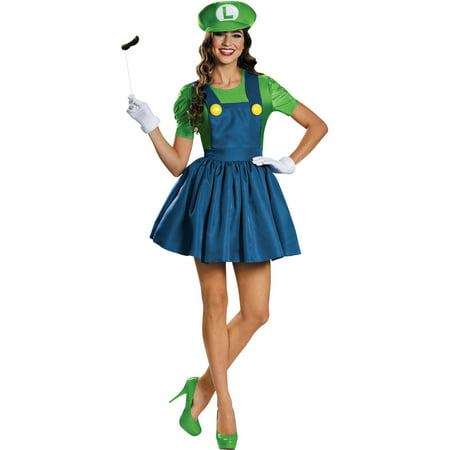 Luigi Costume Womens (Luigi Skirt Women's Adult Halloween)