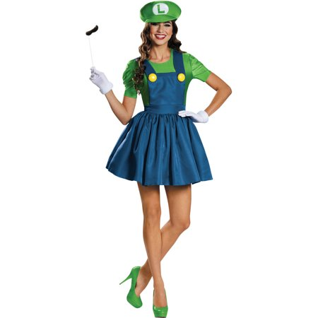 Luigi Skirt Women's Adult Halloween Costume](Toddler Luigi Halloween Costume)