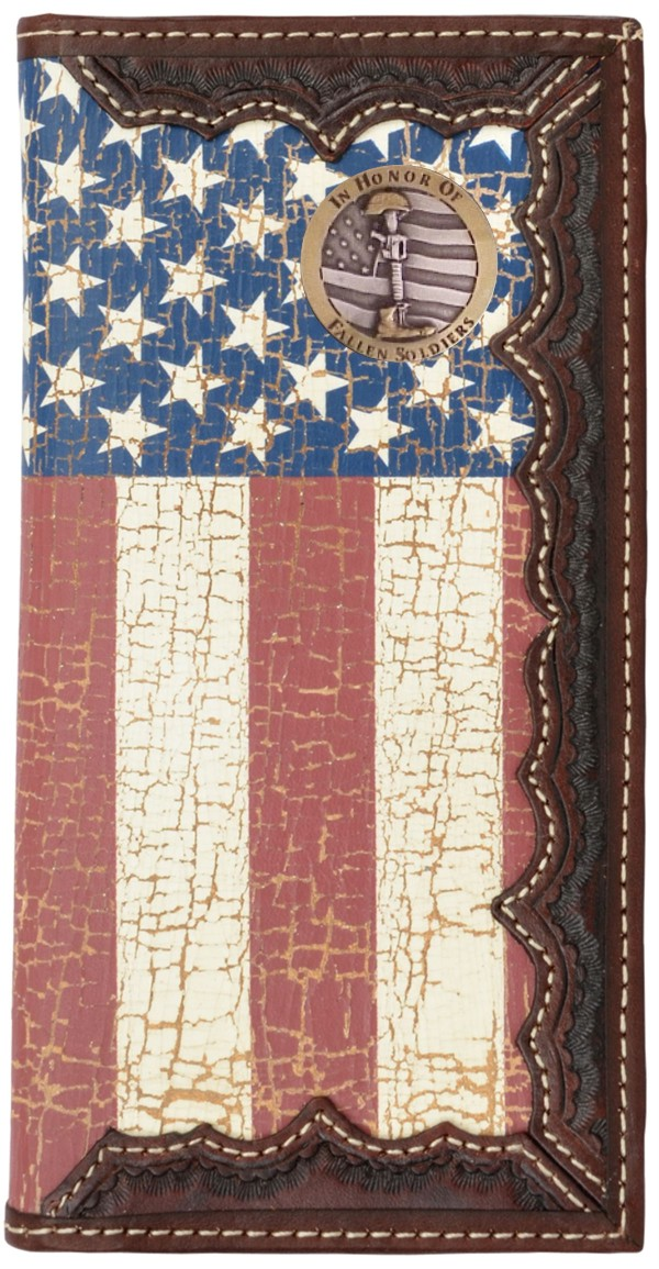 Custom Small Texas Mason Bi-fold Wallet with a Distressed United States Flag background