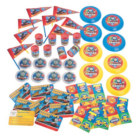 Thomas Train Party Favors (Fun Express - Thomas The Train Mega Favor Value pk for Birthday - Party Supplies - Licensed Tableware - Misc Licensed Tableware - Birthday - 48)