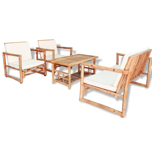 Dioche 4 Piece Garden Lounge Set With, Bamboo Outdoor Furniture Set
