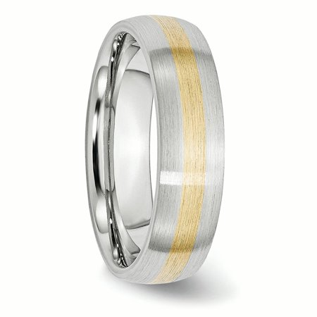 Cobalt 14k Gold Inlay Satin 6mm Band Size 10 - image 1 de 4