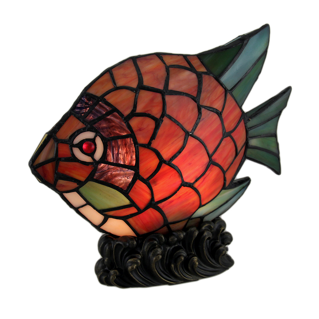 Red Tropical Fish Decorative Art Glass Accent Lamp