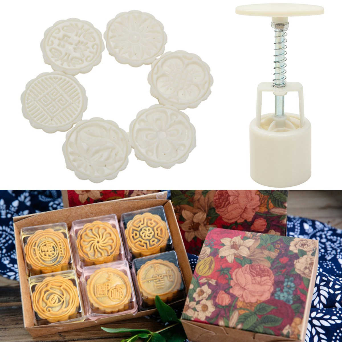 Meigar Hand Press Moon Cake Cookie Mold Mould Mid-autumn Festival DIY Flower Decoration 6 Stamps 50g Tool DIY Decoration by