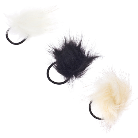 Lux Accessories White Black Ivory Fuzzy Elastic Hair Tie Ponytail HolderSet 3PC](Fuzzy Hair)