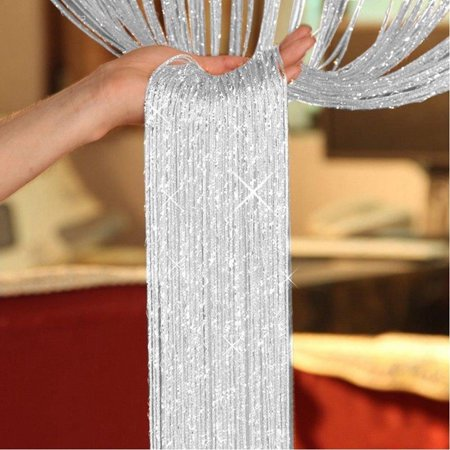 Beaded Door Curtains (Sparkling String Curtains, Glitter Silver Ribbon Thread Door Window Fringe Panel Strip Tassel  Fly Screen Kitchen Curtain Room Dividers Home Decor, 100x200cm, 20)