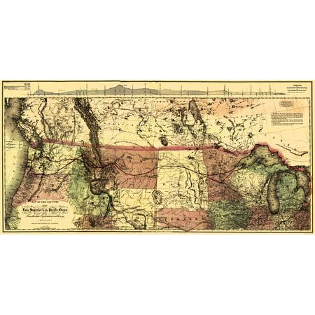 Old Railroad Map   Northern Pacific Railroad  Lake Superior To Pacific   Colton 1868   23 X 46 72