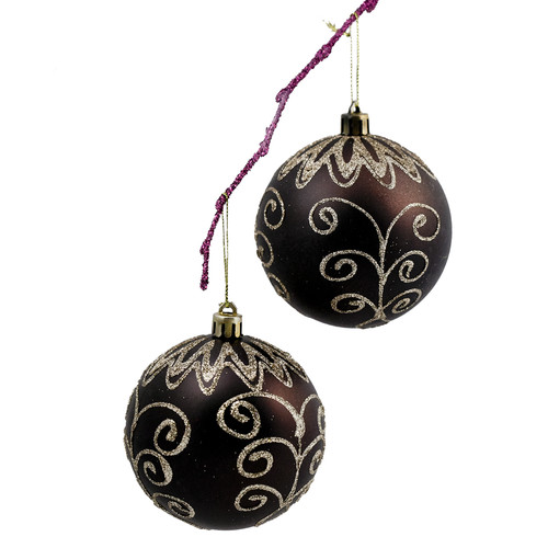 Perfect Holiday 3.14'' Shatterproof Handpainted Flower Christmas Ball Ornament (Set of 2)