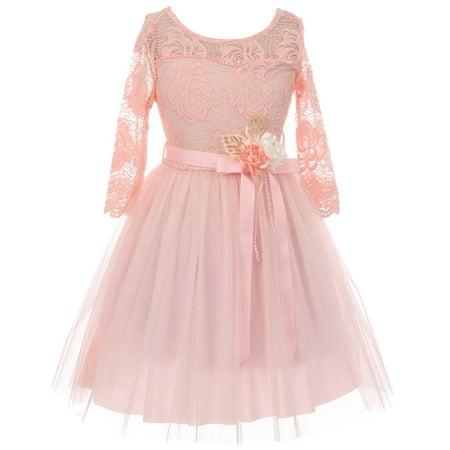Little Girls Long Sleeve Girls Dress Floral Lace Blushs Corsage Christmas Flower Girl Dress Blush 4 (J20KS98) (4 Flower Girls)