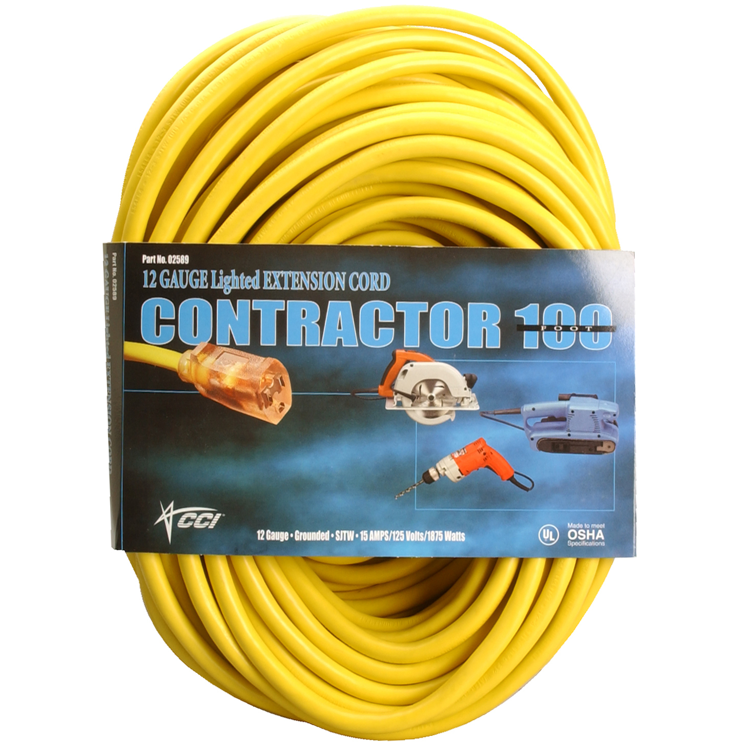 Coleman Cable 2589SW0002 100' 12/3 Yellow Extension Cord