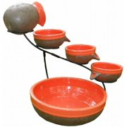 Smart Solar Ceramic Solar Cascade Fountain with Tangerine and Rustic Brown Finish 23964R01