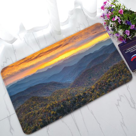 Ykcg North Carolina Blue Ridge Parkway Mountains Sunset Scene Doormat Indoor Outdoor Bathroom Doormat 30X18 Inches