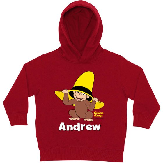 8aa8065d87a4 Personalized Curious George Peek-A-Boo Red Toddler Hoodie - Walmart.com
