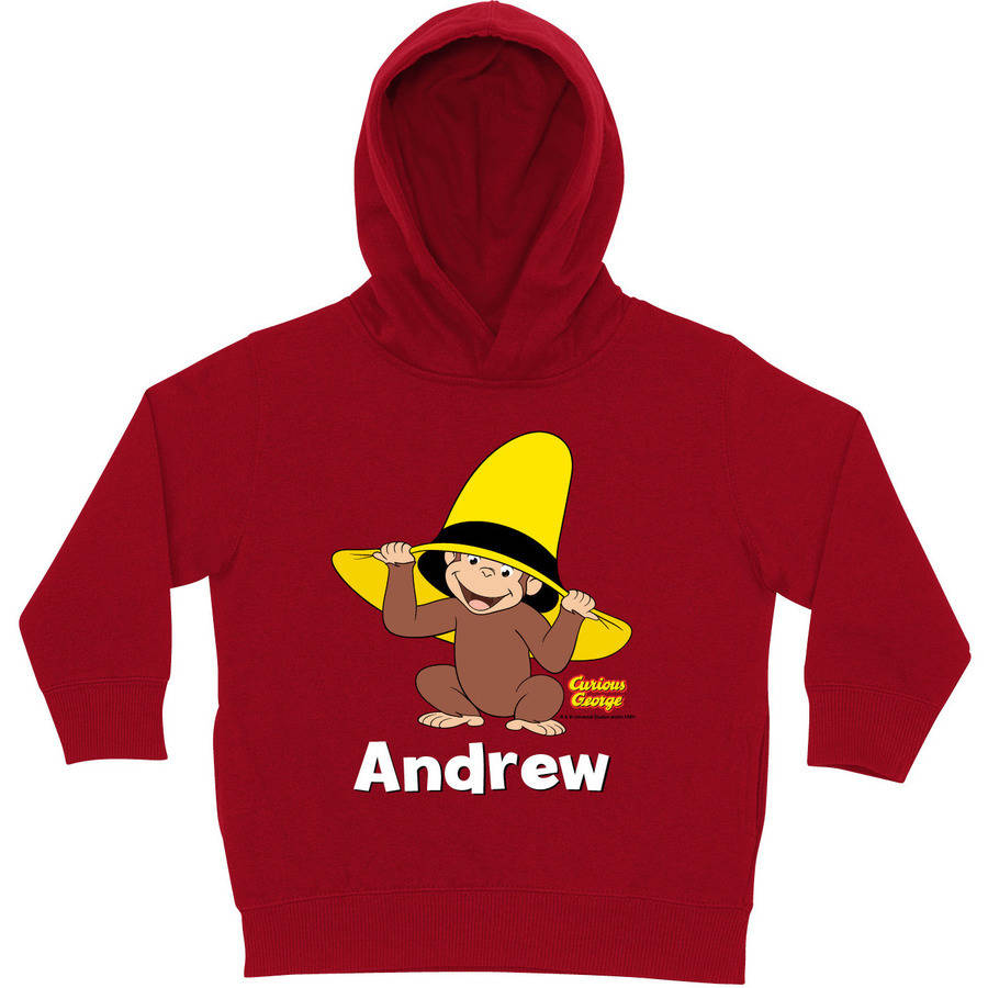 Personalized Curious George Peek-A-Boo Red Toddler Hoodie