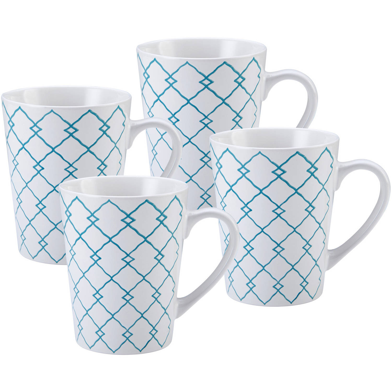 Pfaltzgraff Set of Four 27 Ounce Jumbo Teal Squares Coffee Mugs