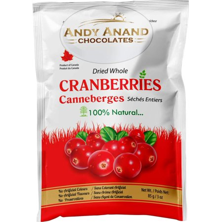 Cranberry White Chocolate - Andy Anand Chocolates- Premium Dried Whole Cranberries fresh fruits snack cranberry dry fruit Slightly sweetened Cranberry (Pack of 2 – 3 oz.)