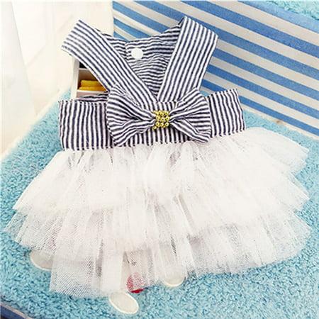 Cute Striped Princess Dress Lace Bowknot Tutu Skirt for Teddy Poodle Bichon Summer Wear Color:Pink Size:M - image 6 de 8