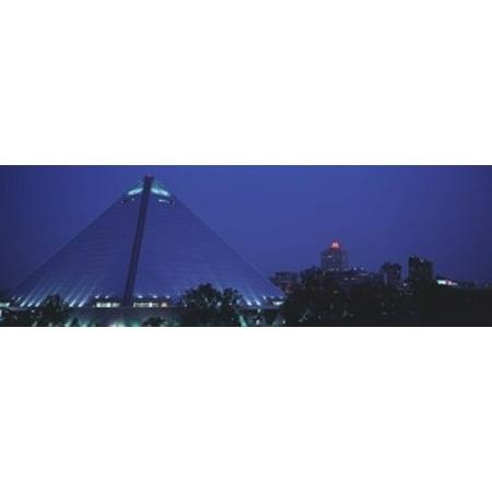 Night The Pyramid and Skyline Memphis TN USA Canvas Art - Panoramic Images (18 x