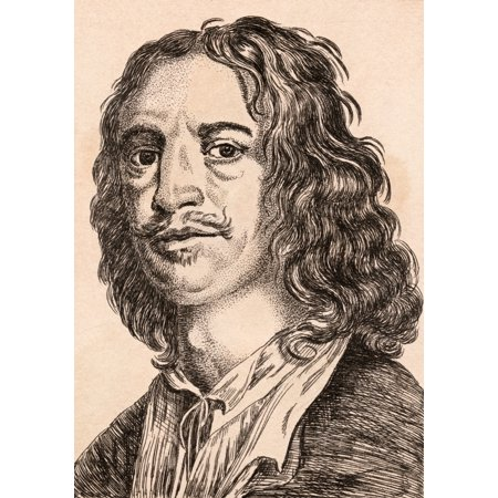 Image of William Dobson 1610 - 1646 English Artist From 75 Portraits Of Celebrated Painters From Authentic Originals Etched By James Girtin Published London 1817 Canvas Art - Ken Welsh Design Pics (24 x 34)