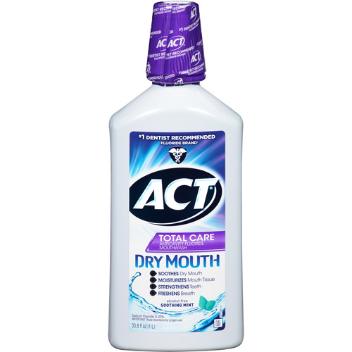 Act Total Care Anticavity Fluoride Rinse for Dry Mouth Soothing Mint, 33.8 oz