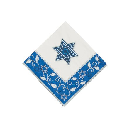 Fun Express - Joyous Holiday Passover Bev Napkins - Party Supplies - Licensed Tableware - Licensed Napkins - 16 Pieces