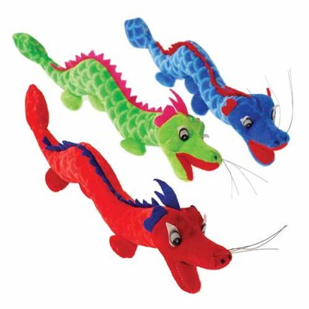 U.S. Toy Plush Stuffed Animal Red Green Blue Dragons (3 Pack)