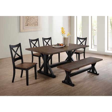 Magnificent United Furniture Lexington Dining Bench Black And Rustic Oak Andrewgaddart Wooden Chair Designs For Living Room Andrewgaddartcom