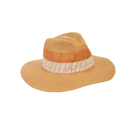 Eliza May Rose Women's Cabana Straw Fedora with Orange Stripe - Striped Fedora