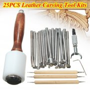 25PCS Stamping Hammer Embossing Manual Leather Craft Carving Stamp Beveler Tools DIY Kit Set