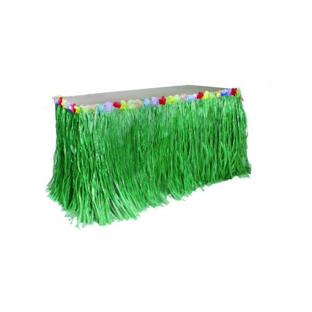 Green Table Skirt Decoration Hawaiian Luau Flowers (Hawaii Grass Skirt)