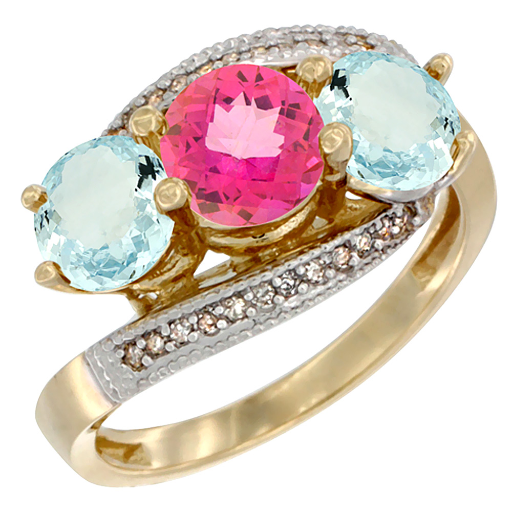 14K Yellow Gold Natural Pink Topaz & Aquamarine Sides 3 stone Ring Round 6mm Diamond Accent, size 5 by Gabriella Gold