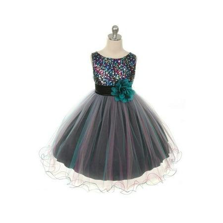 Tea Girl Dresses (Kids Dream Little Girls Teal Multi Sequin Tulle Dress)
