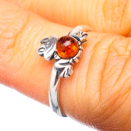 Genuine Baltic Amber Frog Ring Size 6 (925 Sterling Silver)  - Handmade Boho Vintage Jewelry RING920209