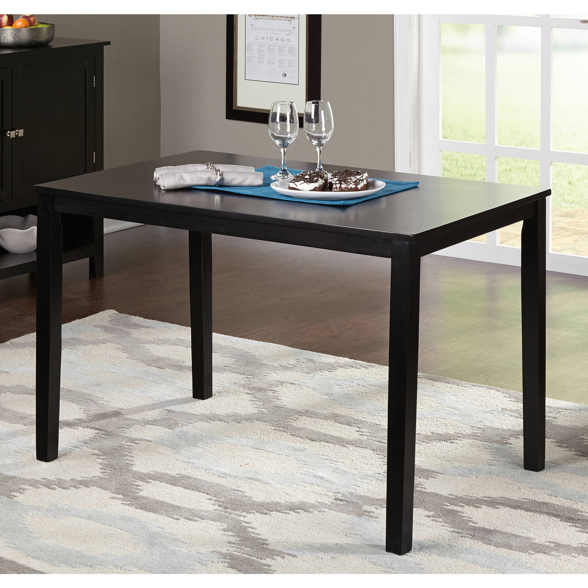 Contemporary Dining Table, Black   Walmart.com