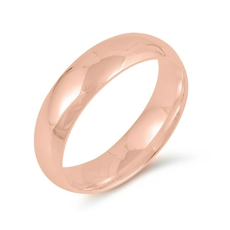 CHOOSE YOUR STYLE Rose Gold-Tone 925 Sterling Silver Wedding 5mm Band Comfort Fit Ring 925 Comfort Fit Wedding Band
