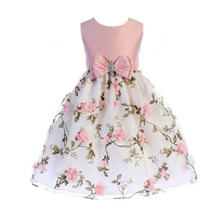 Crayon Kids Little Girls Pink Floral Print Easter Flower Girl Dress - Flower Girl Dress On Sale