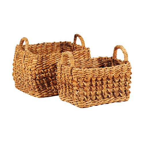 Ibolili 2 Piece Braided Wicker Basket Set