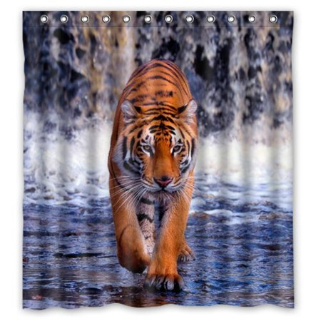 MOHome Funny Tiger Walking in the Water King of Animal Design Shower Curtain Waterproof Polyester Fabric Shower Curtain Size 66x72