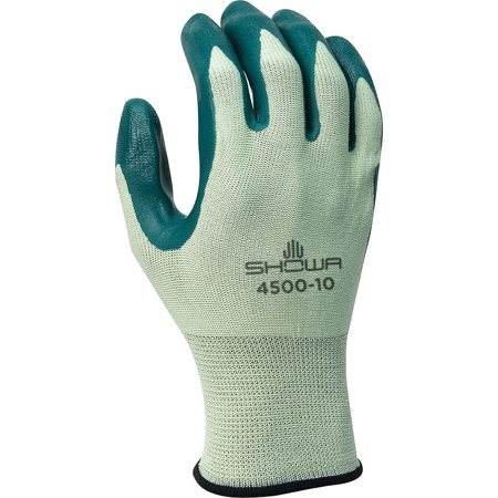 SHOWA Size 10 Nitri-Flex Lite Dark Green Nitrile Dipped Palm Coated Work Gloves With Light Green Seamless Nylon Knit Liner And Knit covid 19 (Seamless Knit Nylon Liner coronavirus)
