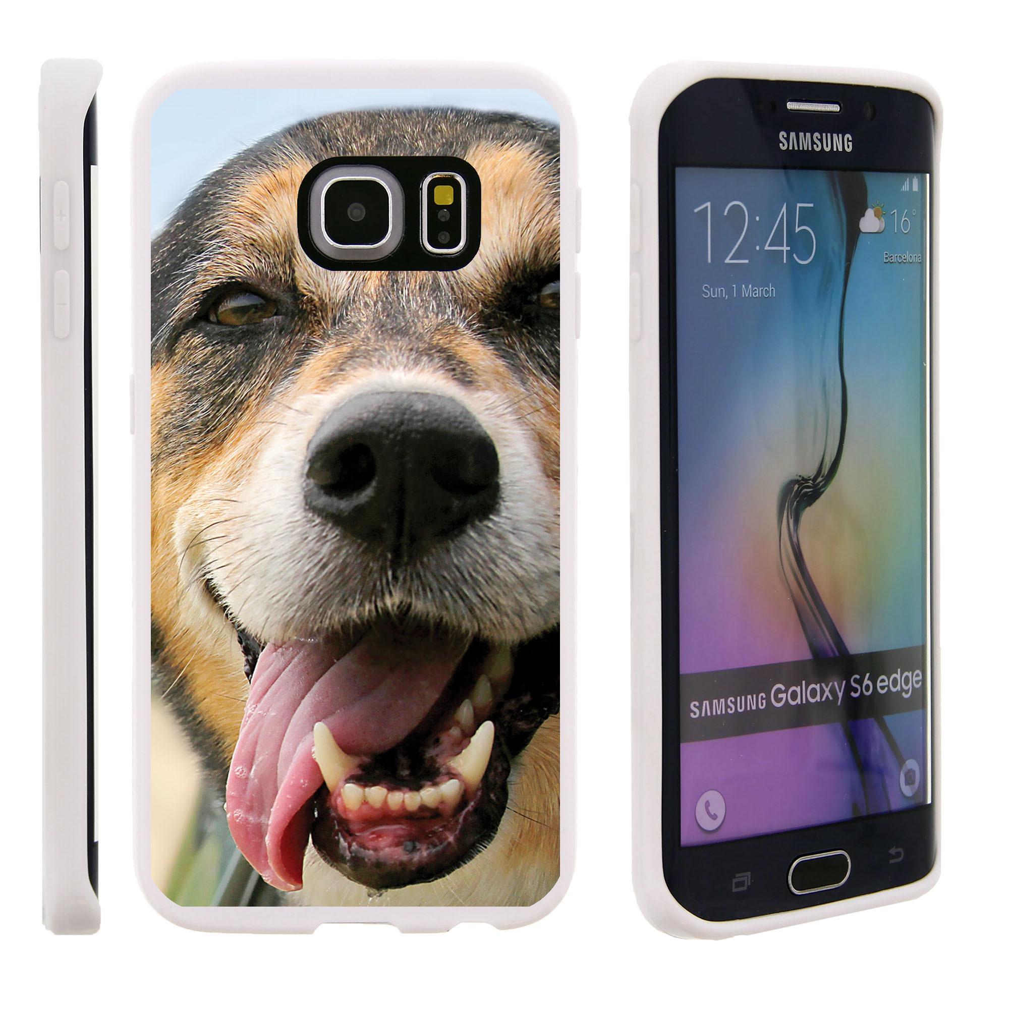 Samsung Galaxy S6 Edge G925, Flexible Case [FLEX FORCE] Slim Durable TPU Sleek Bumper with Unique Designs - Tongue Out Dog