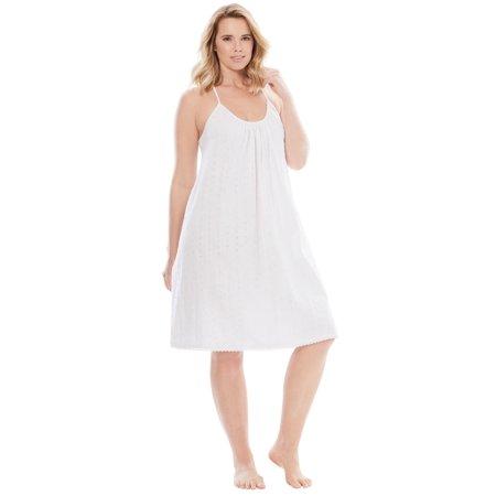 Dreams & Co. Plus Size Breezy Eyelet Short Nightgown (Renaissance Gowns Plus Size)