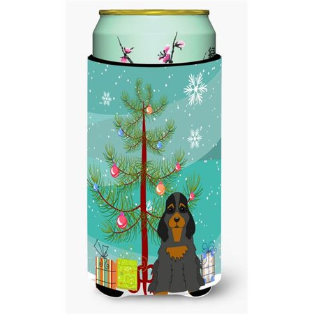 Merry Christmas Tree Cocker Spaniel Black & Tan Tall Boy Beverage Insulator Hugger - image 1 de 1
