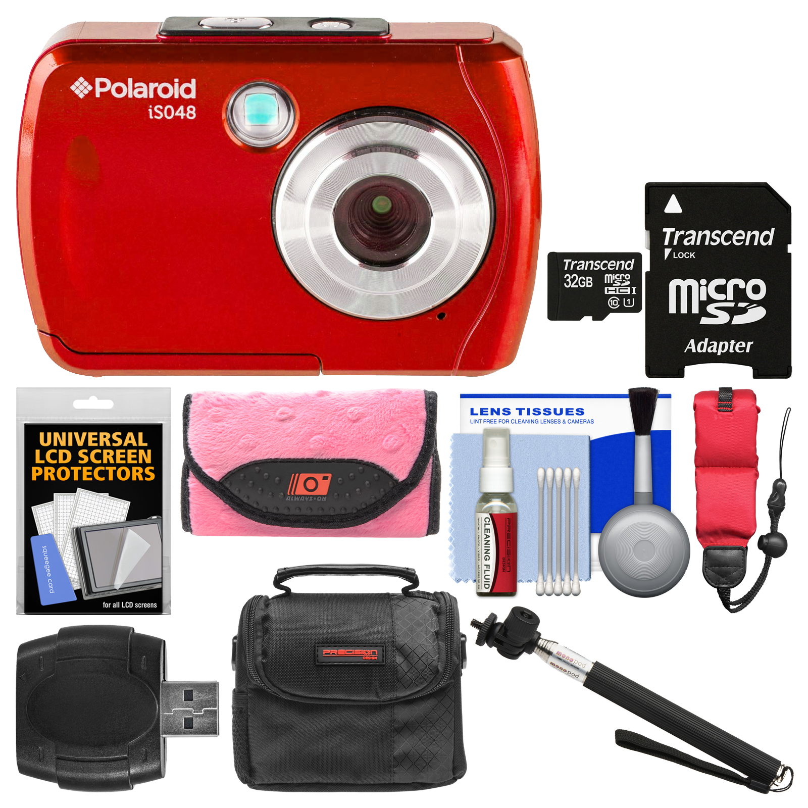 Polaroid iS048 Waterproof Digital Camera (Red) with 32GB Card + Case + Selfie Stick + Float Strap + Cleaning Kit