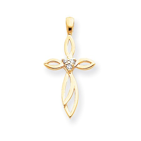 14k Yellow Gold Diamond Cross Religious Pendant Charm Necklace Fancy Fine Jewelry For Women Gift Set