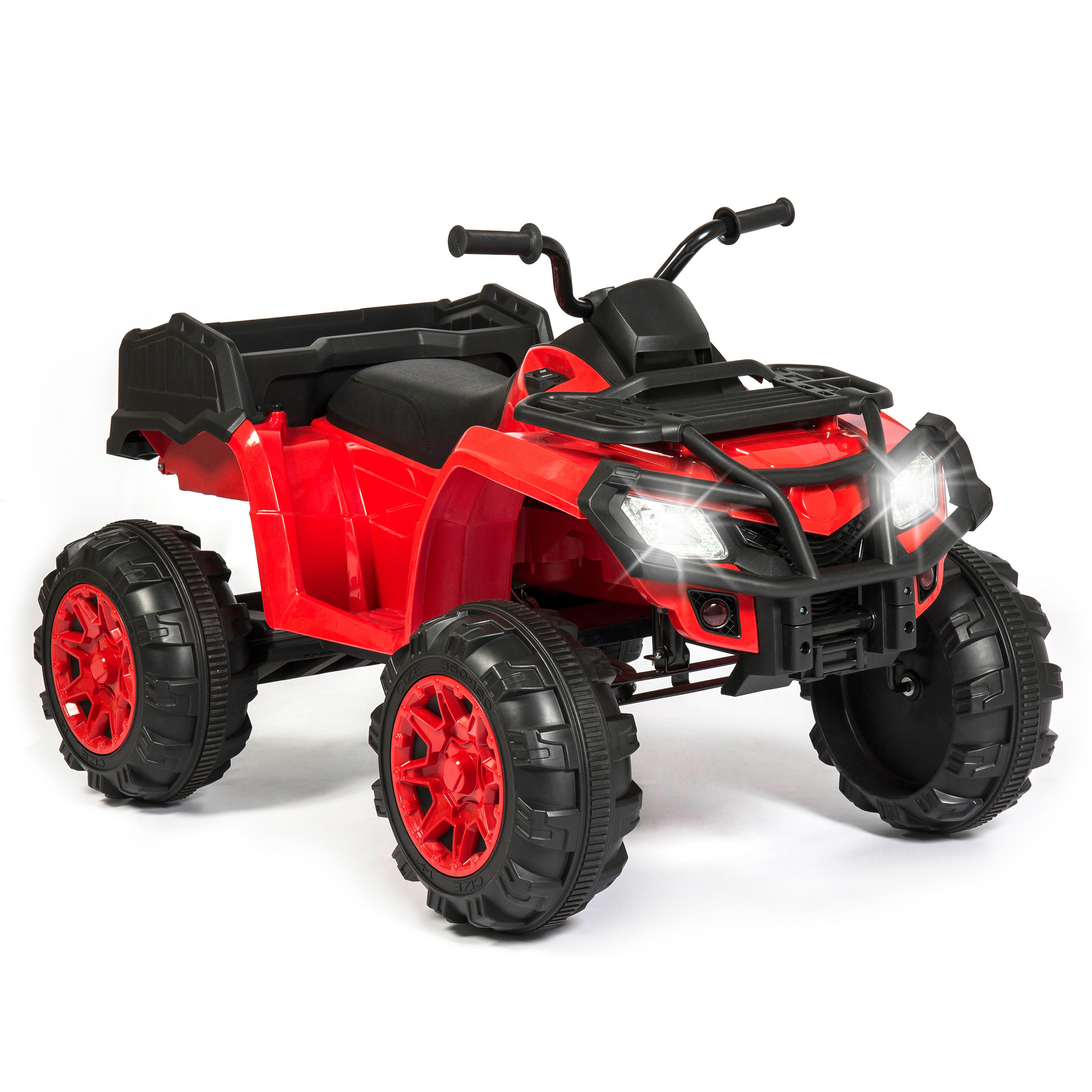 Best Choice Products 12V Kids Powered Large ATV Quad 4-Wheeler Ride-On Car w/ 2 Speeds, Spring Suspension, MP3, Lights, Storage - Red