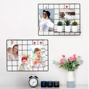2 Pack Wall Grid Wire Panel - Photo Display Gridwall - Metal, Black & Magnetic Panels - Mesh Storage Organizer & Picture Frame - Hanging Home, Office & Kitchen Decor
