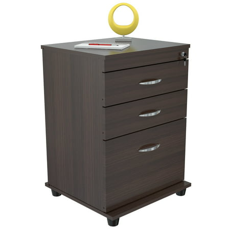 Inval 3 Drawer Vertical Wood Lockable Filing Cabinet,