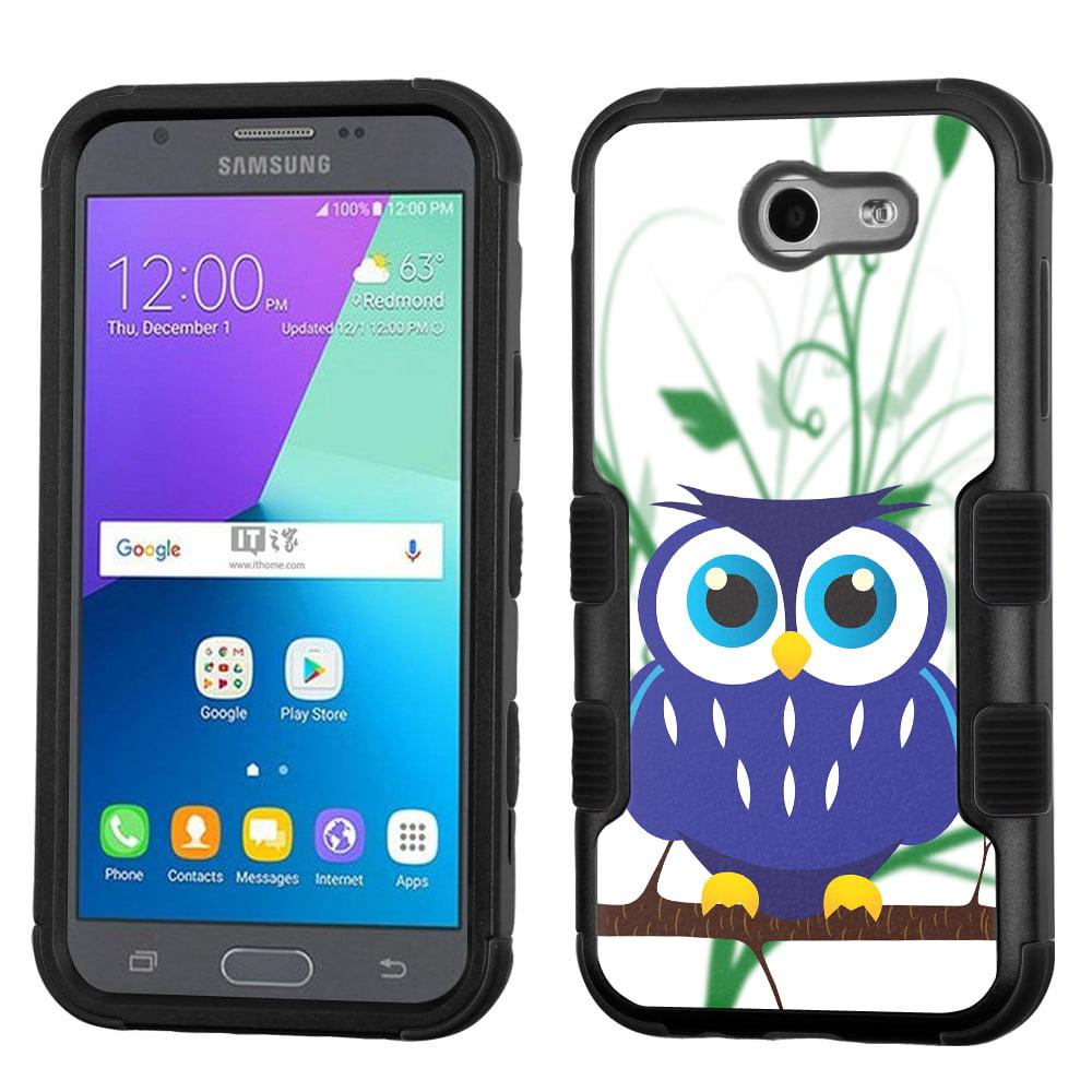 Hybrid Case for Samsung Galaxy J3 Luna Pro 4G LTE / J3 Eclipse, OneToughShield ® 3-Layer Phone Case (Black/Black) - Blue Owl